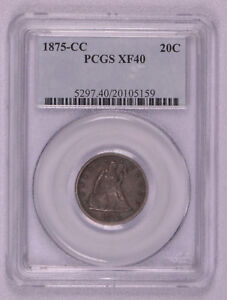 1875 CC 20c PCGS XF40 Rare Carson City Issue 20 Cent Piece Free shipping!