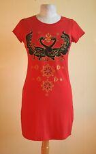 LUV Sri Lanka red cotton S/Slve T dress+ black appliqué dragons& gold embroidery