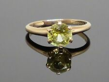 Vintage 1.5 CT Yellow Sapphire Solitaire 10K Gold Ring, 2.1g, size 6.5