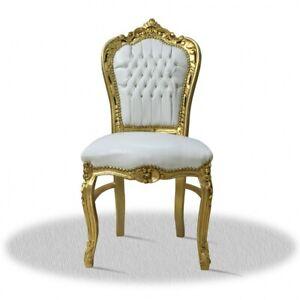Barockstuhl weiß gold Kunstleder holz möbel stuhl esszimmer luxus design büro