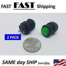 2 PACK --- Latching Type Green LED Lamp Round Push Button Switch DC 3V