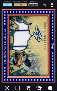 Topps Bunt *Digital* Gleyber Torres Independece Day Relic Auto Yankees Card