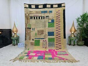 "Moroccan Handmade Boujaad Rug 5'6""x8'8"" Abstract Berber White Pink  Wool Rug"