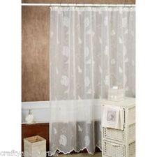 Fabric Shower Curtain Seashells Starfish Beach Island Ocean Lace Coastal White