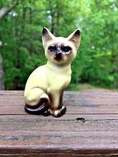Antique Vintage Siamese Cat Miniature Kitten Porcelain Unique Brown Eyes Seal