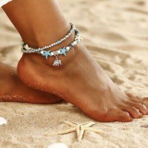 Silver & Turquoise Beaded Multi Layer Elephant Fully Adjustable Ankle Bracelet