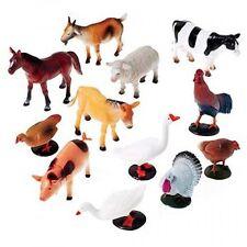 US Toy Company Farm Animals, 12 Piece, 2386, Plastic Figures Cow Horse Goat Duck