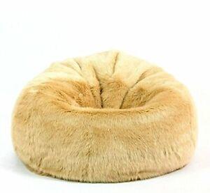 Handmade Mollismoons Bean Bag Cover Fur and Leather, XXXL Size (Yellow)
