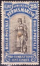 REPUBBLICA DI S. MARINO - RARO FRANCOBOLLO DA 25 CENT. + 5 - 1918 - PRO COMBATT.