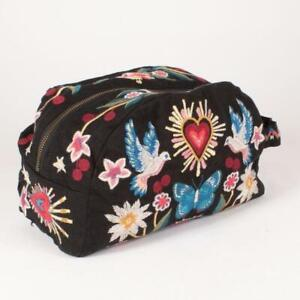 Johnny Was Adara Cotton Make Up Black Bag Cosmetic Case Clutch Pouch Heart NW