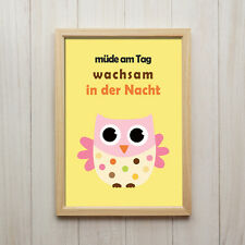 Eule Kunstdruck DIN A4 Spruch Wandbild Druck Kinderzimmer Dekoration Fine Art