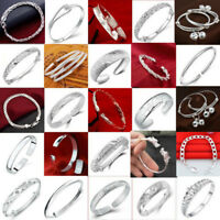 Charm 925 Sterling Silver Cuff Bracelet Bangle Jewelry Wedding Party Lovers Gift