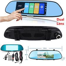 7'' HD 1080P Dual Lens Car Dash Camera DVR Rearview Mirror Video Camera Recorder