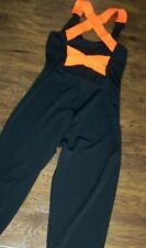 NEW BASIC MOVES Juniors XL Dance Full Length Black X back hot OrangeTank Unitard