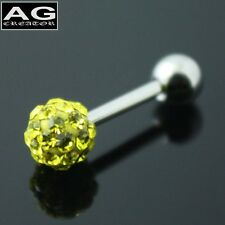 A single Yellow cubic snow ball barbell earring stud piercing 18g