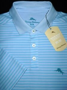 NEW! TOMMY BAHAMA POLO SHIRT -M- BLUE AQUA STRIPE -EMBROIDERED MARLIN SOFT GOLF