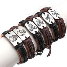 6pcs Handmade Mixed Skull Styles Braid Hemp Genuine Leather Bracelets Cuff FREE
