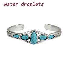 Fashion Vintage Turquoise Bracelet Cuff Adjustable Bangle for Women Jewelry Water Droplets