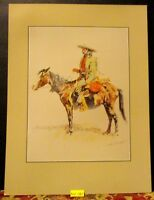 Vintage REMINGTON Print ~A TRAPPER~ On Horse Rockwell Museum Print 1988