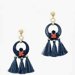 Lilly Pulitzer High Tide Maritime Navy Pink Tassel Earrings NEW