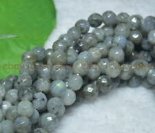 "Faceted 8mm Natural Real Labradorite Round Gems Loose Beads 15"" AA"