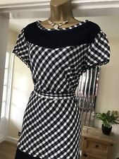 Monsoon checked summer navy cotton casual occasion shift dress size 18