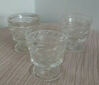 Set of 3 Vintage Cut Glass Champagne Sherbet Pedestal Stem Glasses Clear