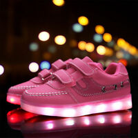 New Fashion Kids Boys Girls LED Shoes Light Up Luminous Flat Casual Sneakers US
