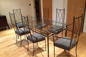 Stan Pike Hand Forged and Crafted Wrought Iron Dining Table & 6 Chairs