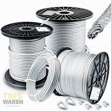 6mm - STAHLSEIL PVC SET: 2 Kauschen 4 Klemmen Seil Seile Drahtseil DIN ummantelt