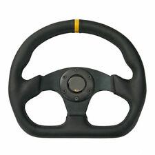 13'' 320mm Universal Racing Flat Drift Sport Leather Steering Wheel Black + Horn