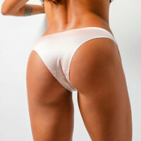 Womens Solid Ice Silk G-string Briefs Panties Seamless Thongs Underwear Lingerie