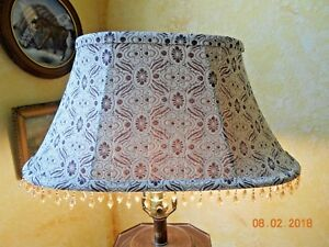 BROWN IVORY ABSTRACT DESIGN LAMP SHADE SOFT BACK SPIDER FITTER AMBER BEADING....