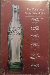 NEW Faux Vintage Tin Metal Sign COCA-COLA SCRIPT Replica Advertisement