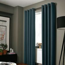 Charcoal Solid Thermal Foam Lined Blackout Heavy Thick Window Curtain Drapes.