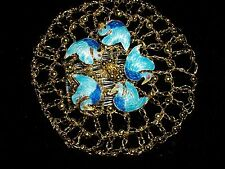 GOLD TONED BEADS WIRE CLOISONNE BIRDS KIPPA YARMULKE JUDAICA ARTIST MADE NEW