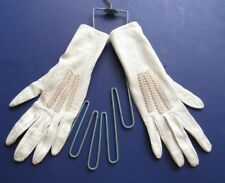 Vintage Edwardian Leather Kid Gloves White Embroidered  Metal Stretcher Small
