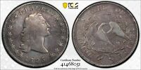 1795 FLOWING HAIR SILVER DOLLAR!  RARE 2 LEAF VERSION! PCGS VF DETAILS - CLEANED