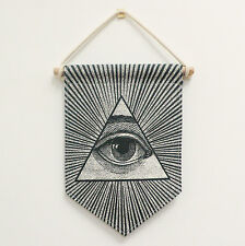 Illuminati All-seeing eye Flag Banner, Wall Art hanging, Fabric Pennant