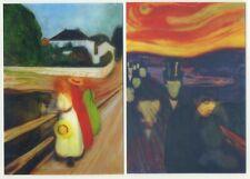 Zwei Edvard Munch 2-phase Motion Linsenförmiges Postkarten