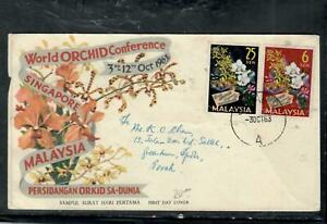 SINGAPORE  COVER (P0150B) 1963 MALAYSIA ORCHIDS CACHETED FDC SINGAPORE A TO PERA