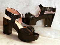 Robert Clergerie Platform Sandals black patent leather 39 us 8 BRAND NEW