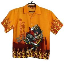 No Rules youth boys shirt short sleeve graphic print button up size L 14-16