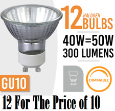 12x Eco HALOGEN LAMP LIGHT BULBS GU10 40w = 50W MAINS 240V 12 For Price of 10