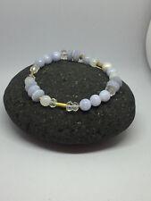 Edelstein Armband Chalzedon, Bergkristall, Mondstein, Perlen