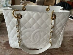 CHANEL White Quilted CC Large Tote Hand  Bag Purse Shoulder Chain Monogram