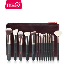 Rose Gold Pro 15Pcs Powder Foundation Makeup Brushes Sets&Kits PU Leather Cases