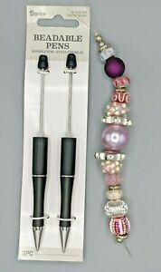 3 pc Beaded Pen Kit, 2 Black Plastic pens, 1 Strand Large Hole Beads, B-A485