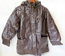 M Collection Womens Leather Jacket Zip Front Zip Off Hood Brown M #6373