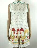 Vintage 60s Romper Size S Calico Farmer Chic Norwegian Rooster Novelty Print